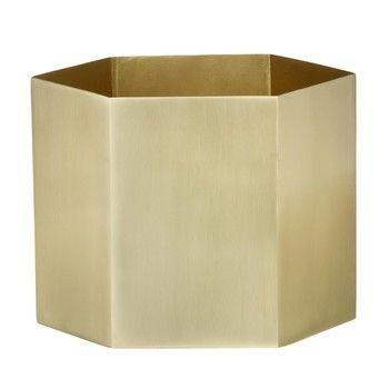 ferm LIVING - Hexagon Pot X-Large Aufbewahrungsbehälter - messing/matt/Ø18cm/H14cm
