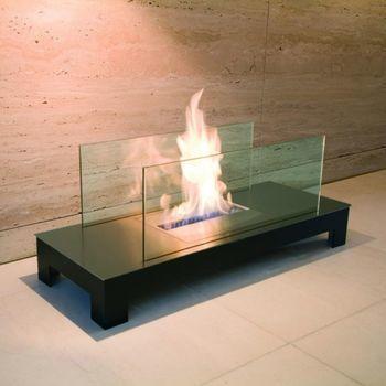Radius - Floor Flame openhaardvuur - zwart, transparant/roetsvrijstaal zwart