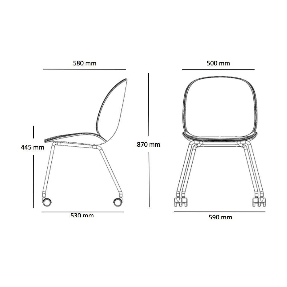 beetle dining chair stuhl mit rollen gubi. Black Bedroom Furniture Sets. Home Design Ideas
