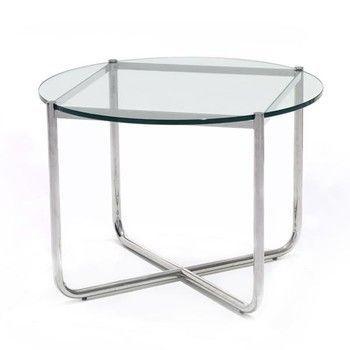 - MR Table Couchtisch/Beistelltisch - transparent/Kristallglas/Gestell verchromt/Ø72.5cm/H 52cm