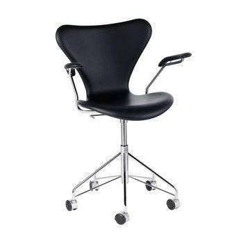 - Serie 7 Dreharmlehnstuhl / Bürostuhl - schwarz/Gestell verchomt/Basic Leder/mit gebremsten Rollen für Hartböden