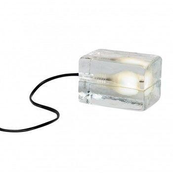 DesignHouseStockholm - Mini Block Lamp LED-Tischleuchte - transparent/Textilkabel schwarz