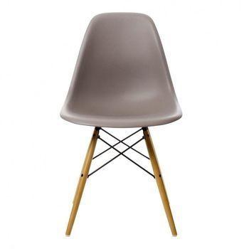 Vitra - Eames Plastic Side Chair DSW - Stoel H43cm - mauve grijs/onderstel ahorn/met viltgeleiders/nieuwe hoogte