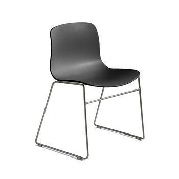 HAY - About a Chair 08 Stuhl mit Kufen - schwarz/Gestell Edelstahl/H x B x T: 78 x 58 x 50cm
