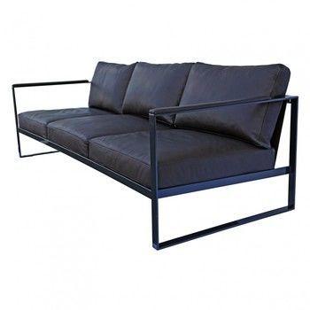 - Monaco 3-Sitzer Sofa - Leder schwarz/Gestell Eisen schwarz/B x T x H: 230 x 86 x 75cm
