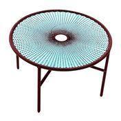 Moroso - Banjooli Tisch - türkis/oxid/handgeflochten/Fußgleiter aus PVC/H 72cm/Ø 96cm/Gestell Stahl lackiert