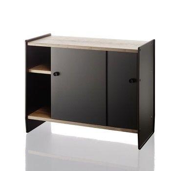 - Theca Sideboard - schwarz/eloxiert/Einlegeböden Kirschbaum natur/H x B x T: 78 x 93 x 43m