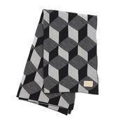 ferm LIVING - Squares Tagesdecke - grau/150x120cm/waschbar bei 30°C/Jacquard-Strick mit Leder Logo-Label