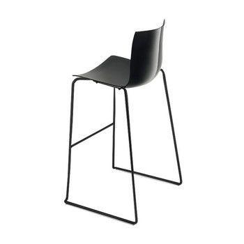- Catifa 46 0471 Barhocker einfarbig schwarz - schwarz/Außenschale glänzend/innen matt/Gestell schwarz matt V39/Sitzhöhe 76cm