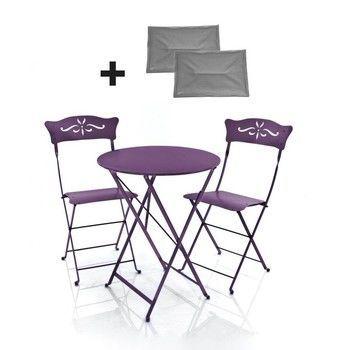 Fermob - 2 Bagatelle stoelen + 1 bistrotafel - aubergine/gelakt/tafel rond ø60cm/incl. 2 zitkussens grijs