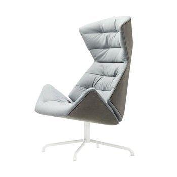 Thonet - Sillón lounge 808 - Under  - azul-gris verde/patas tubo de acero lacado/tissu Rohi Soul 156 under/exterior: cuero TL 641 loto