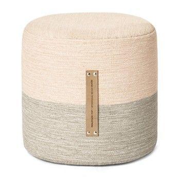 - Fields Pouf/Hocker - pink/beige/Polyurethanschaum/Styroporkern/H 40cm/Ø 40cm/Ledergriffe