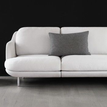 Fritz Hansen - Lune 2-Sitzer Sofa 155 x 93.5 cm - nebel grau/Stoff Linara 2494/340/Gestell gebürstetes Aluminium
