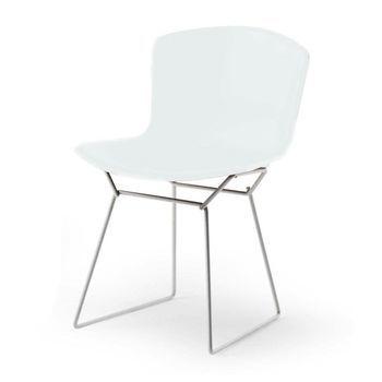 Knoll International - Bertoia Plastic Side Chair Stuhl Chrom - weiß/Polypropylen/Gestell chrom
