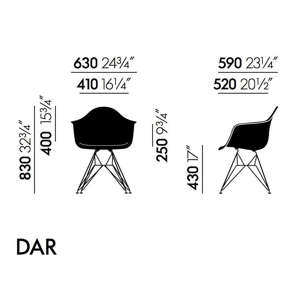 Eames armchair dar h43cm kit de 4 chaises vitra for Chaise facon eames