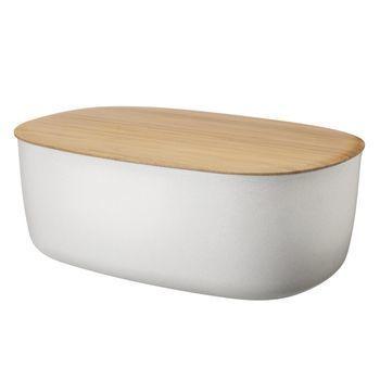 RIG-TIG - RIG-TIG Box-It Brotkasten - weiß/Deckel Bambus/34,5x22,7x14cm