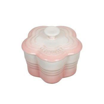 Le Creuset - Limited Edition Blumen-Förmchen mit Deckel - rosa/backofengeeignet/auch für Mikrowelle & Gefrierschrank geeignet