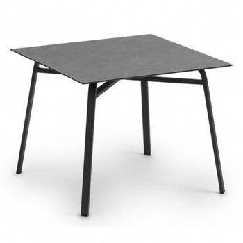 - Ahoi Gartentisch - HPL steingrau/Gestell grau metallic/L x B x H: 90 x 90 x 73cm