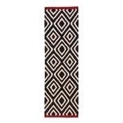 Nanimarquina - Mélange Pattern 1 Kilim Wollteppich / Läufer - schwarz/weiß/rot/80x240cm