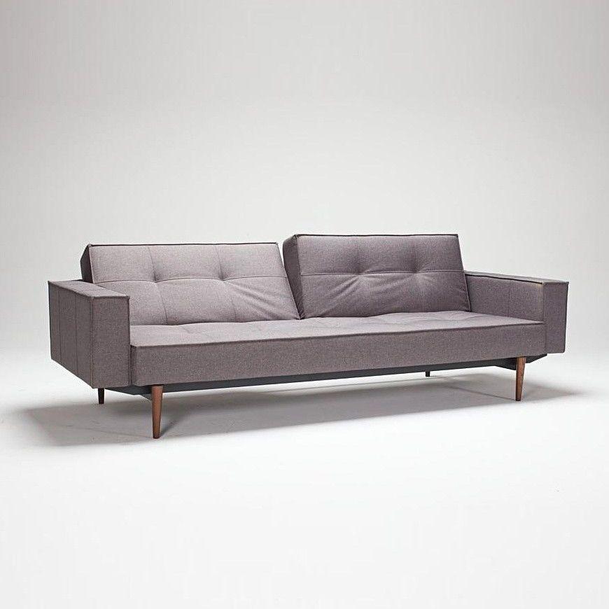 Splitback wood sofa bed with armrests innovation