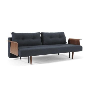 - Recast Plus Wood Schlafsofa - dunkelblau/Gestell Holz/Stoff 515 Blue Nist/Armlehnen in Wahlnussholz/Liegefläche 140 x 200cm