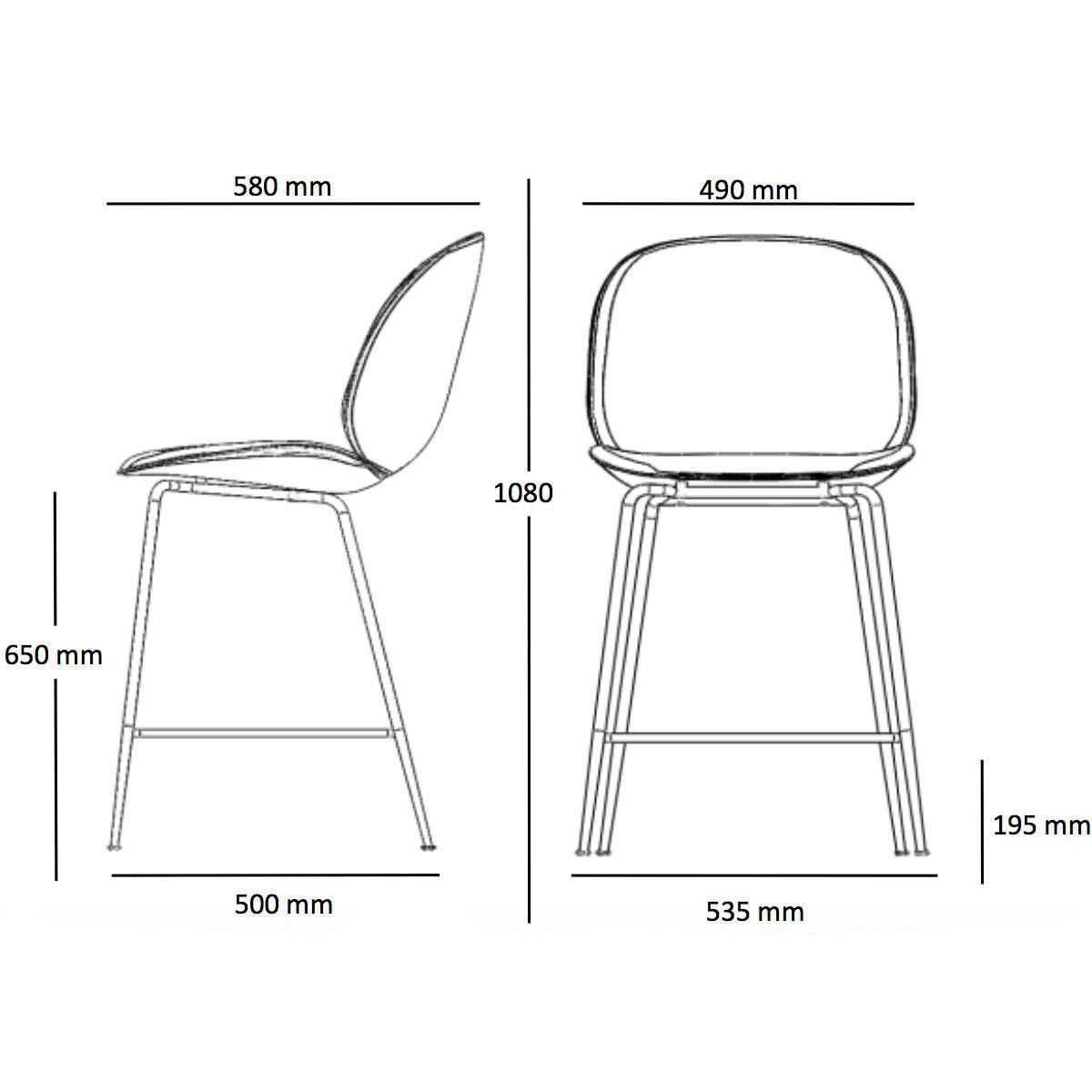 Beetle counter chair barhocker messing 108cm gubi for Barhocker dwg