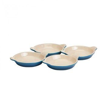 - Le Creuset Crème Brûlée Form 4er Set  - blau marseille/Auch für Mikrowelle & Gefrierschrank geeignet/backofengeeignet