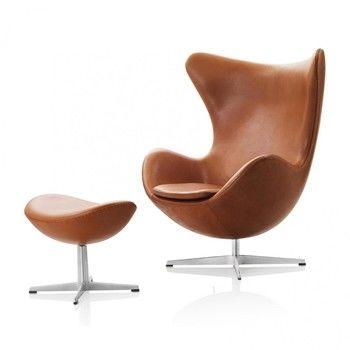 - Aktion Egg Chair/Das Ei Sessel + Fußhocker Leder - walnuss/Gestell Aluminium/Elegance Leder/Fußhocker: LxBxH 56x40x37cm/Fußhocker geschenkt!