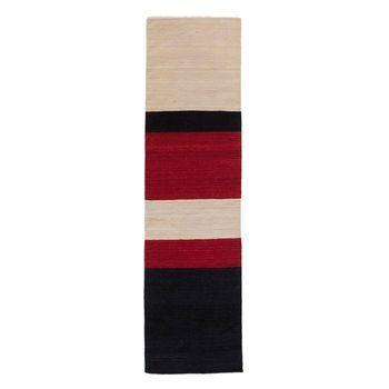 Nanimarquina - Mélange Colour 3 Kilim Wollteppich / Läufer - schwarz-weiß- rot/80x240cm