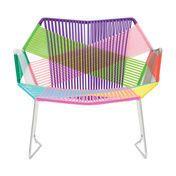 Moroso - Tropicalia Sessel mit Armlehnen - carnival/Fußgleiter aus PVC/Gestell Edelstahl/94x78x87cm