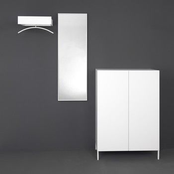 - Urban Allrounder Garderobe - schneeweiß/lackiert/1x kleine Wandgarderobe/1x großer Wandspiegel/1x Kommode - Schuhschrank 80x116x39.1cm