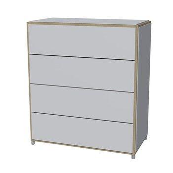 Flötotto - ADD H4 Kommode - weiß/Melamin/ Eiche gekalkt/83,7x43,7x95cm/4 Schubladen
