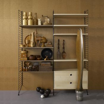 String - String Wood Wall Shelf - black/walnut/fresno/8 shelf/1 chest with 2 drawers
