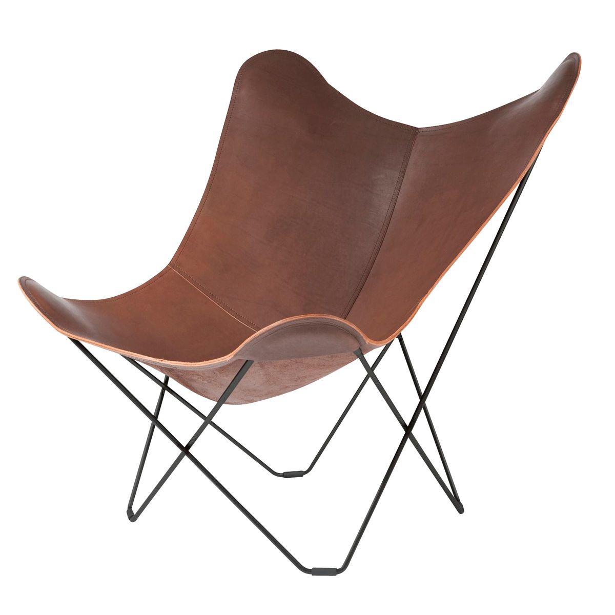 Butterfly chair black - Cuero Pampa Mariposa Butterfly Chair Sessel Dunkelbraun Chocolate 67 Gestell Schwarz