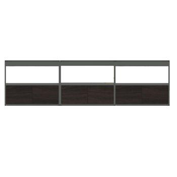 HAY - New Order Sideboard mit Türen 300x79.5cm - anthrazit/esche dunkelgrau gebeizt/lackiert/mit 3 Holztüren
