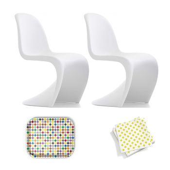 Vitra - Aktionsset Panton Chair Stuhl - weiß matt/Classic Diamonds Multicolor Tablett/Papierservietten gelb/Tablett und Papierservietten geschenkt!