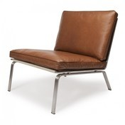 NORR 11 - Man Lounge Chair Sessel - cognac braun/gebürstet/Leder