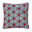 HAY - Kissen Embroidered  - rot grün - Zellen/mit Federfüllung/bestickt/50x50cm