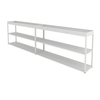 HAY - New Order Sideboard mit Tray 300x79.5cm - hellgrau/lackiert/mit 2 Top Trays