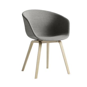 HAY - About a Chair 23 Armlehnstuhl gepolstert - grau/Stoff Remix 133/Gestell Eiche geseift/mit Kunststoffgleitern - About a Chair Armlehnstuhl gepolstert