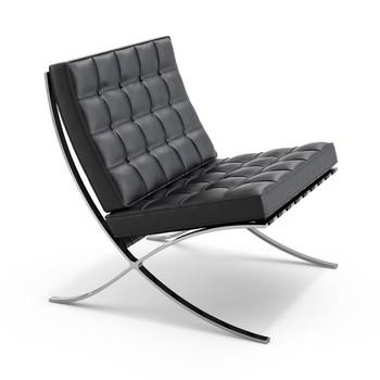Knoll International - Barcelona Sessel - schwarz/Gestell chrom/Leder Velluto Pelle