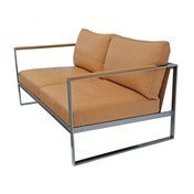- Monaco 2-Sitzer Sofa - Leder beige/Gestell Eisen raw/B x T x H: 153 x 86 x 75cm