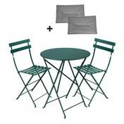 Fermob - Bistro Classique - Set rond - beuken cedergroen/gelakt/onderstel ijzer/tafel Ø60cm + 2 stoelen/incl. 2 zitkussens grijs