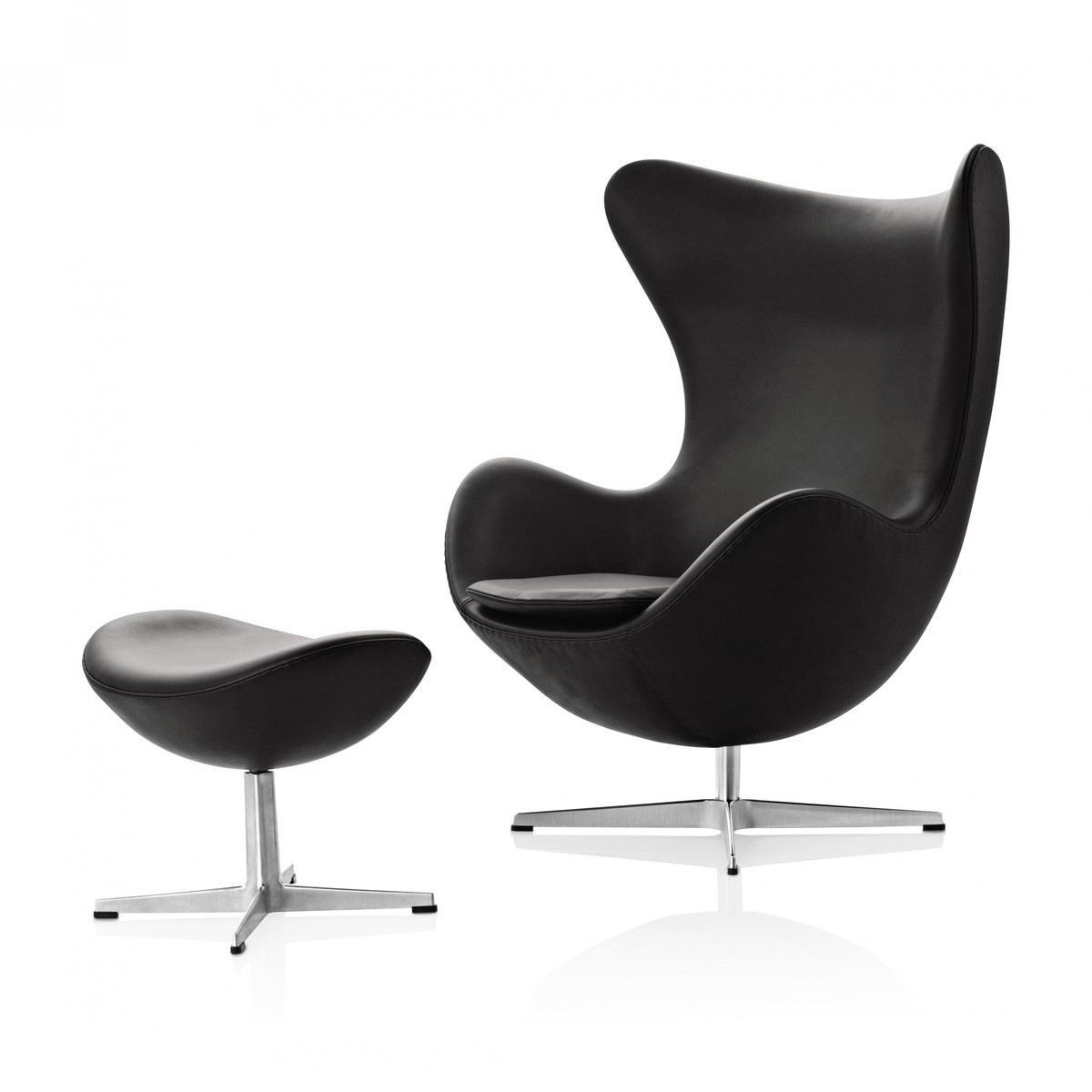 egg chair footstool leather fritz hansen. Black Bedroom Furniture Sets. Home Design Ideas