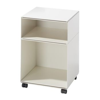 Richard Lampert - Stak Container 2 mit Rollen - weiß/gekantetes Stahlblech/Platten MDF melaminbeschichtet/H:65cm