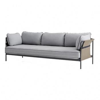- Can 3-Sitzer Sofa - hellgrau/Stoff Surface 120/247x82x89.5cm/Gestell charcoal/Rück-/Seitenteil Canvas army